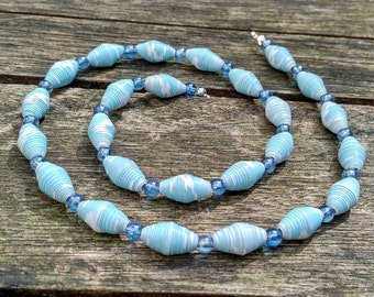 Handmade necklace with cloudy light blue recycled paper and light blue glass beads