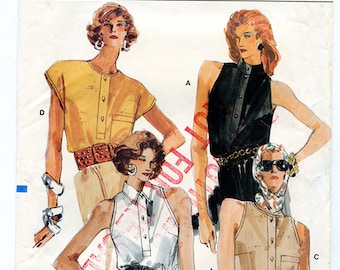Vintage 80s Vogue 9881 Women's Sleeveless and Cap Sleeve Summer Shirt UNCUT Sewing Pattern Sizes 12 14 16 Bust 34 36 38 S M