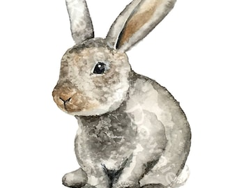 Adorable Watercolor Bunny Rabbit Giclee Fine Art Print
