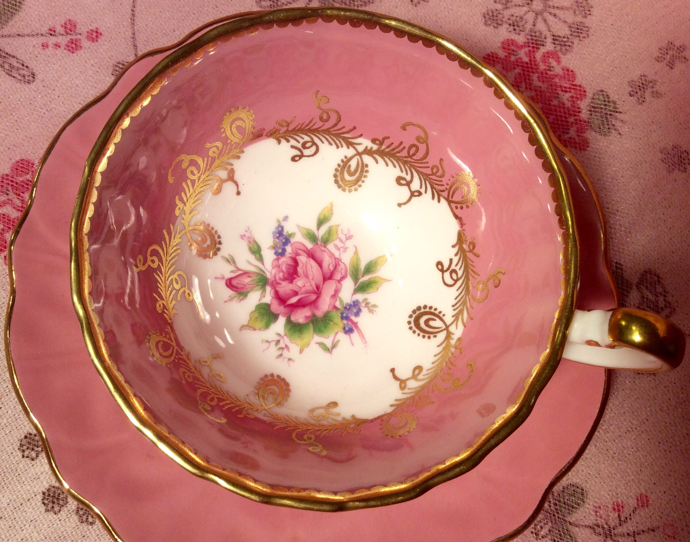 Pretty in Pink-Spectacular Aynsley Pedestal Teacup and Saucer