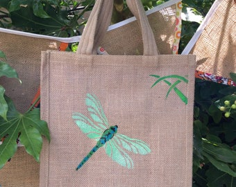Dragonfly jute bag hand painted