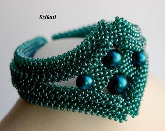 Beaded Teal Bracelet, Elegant Statement Beadwoven Bracelet, Art Beadwork, RAW, High Fashion Jewelry, Women's Accessory, Gift for Her, OOAK