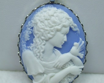 Vintage Cameo necklace  Pendant or Aqua Blue and White Reproduction