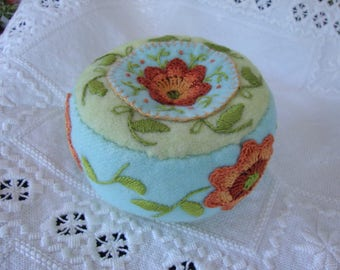 Seafoam and Rust pincushion