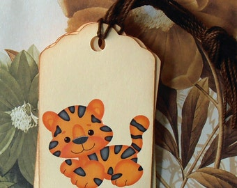 Tags Baby Shower Vintage Style Gift Tags Wish Tree Tags Tiger TB016