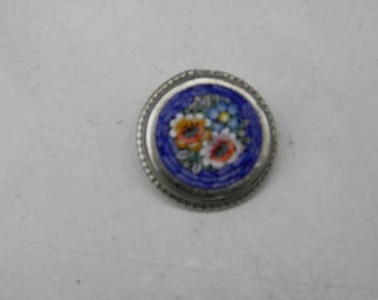 Antique Italian Pietra Dura silver brooch from around 1900