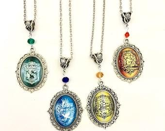 House crest pendant necklace *Harry Potter inspired* Ravenclaw Gryffindor Slytherin Hufflepuff