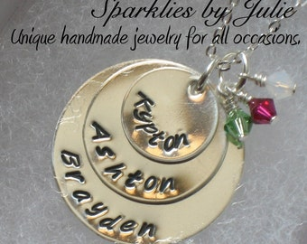 My 3 Wishes - Personalized hand stamped sterling silver necklace with Swarovski birthstones, Mother, Grandmother Jewelry