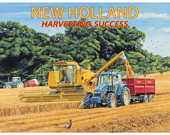 New Holland, Combine Harvester & Tractors, Farm, Small Metal/Tin Sign, Picture