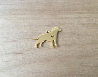 1 - Large Lab Retriever Dog Charm - Gold Toned Brass - Layering Charms Minimal Jewelry Pendant (AT020)