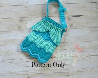 Crochet Pattern, Mermaid Ripple Purse