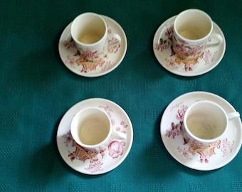 Vintage Demitasse or Espresso Cup and Saucer Set of four