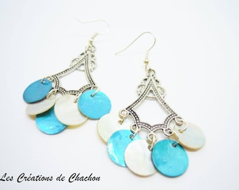 Earrings turquoise and natural sequins