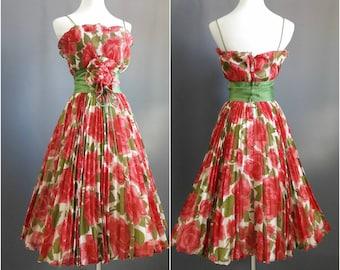 1950s rose dress, 50s dress, pinup dress, rose print dress, roses print, xs dress, vintage roses dress, garden party dress