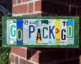 GO PACK GO, Green Bay Packers football license plate sign