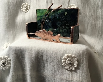 Fish Stained Glass Business Card Holder