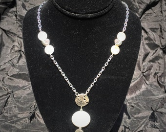 Oceanside Silver Tone Pendant Necklace with Round Shell Beads and Silver Metal Sand Dollar and Shell Beads