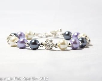 Lavender, Grey and  Ivory Pearl Bracelet, Rhinestone Bracelet, Bridal Bracelet