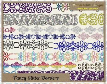 Fancy Glitter Borders, Clip Art Embellishments, Digital Scrapbook Elements, Digital Borders, Scrapbooking Printables
