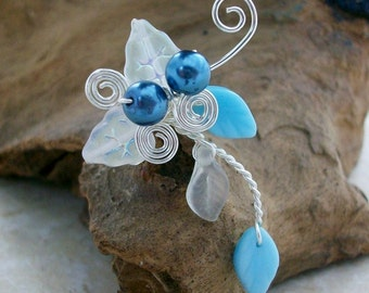 Blue Beach Wedding Ear Cuff Ear Climber, No Piercing, Bohemian Fantasy Wedding Jewelry, Something Blue, Fairy Wedding, Bridal Ear Cuff