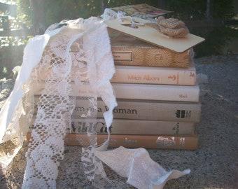 Decorative Book Bundle, Shabby old books, Beige Neutral shades, Rustic wedding Centerpiece, Photo prop, tattered lace mantel decoration