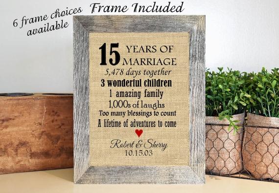 Gift Ideas For 15th Wedding Anniversary: FRAMED 15th Wedding Anniversary Gift/15th Anniversary