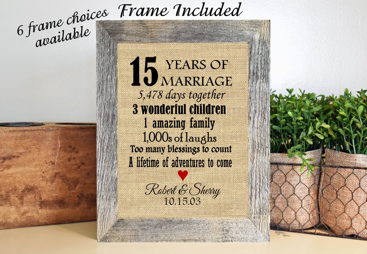 Framed 15th Wedding Anniversary Gift15th Anniversary