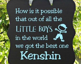 Little Boy Sign, Personalized Sign, Kids Decor, Door Hanger, Boy Sign, Wall Art, Child Name Sign, Baby Sign