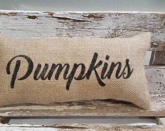 "Burlap Pumpkins Pillow 6"" x 13"" Stuffed Burlap Pillow Pumpkins Rustic Farmhouse Holiday Decor"