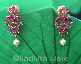 Pink Ruby Pearl  Earrings