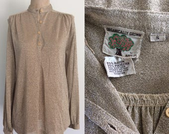 1970's Lurex Gold Sparkle Pullover Top Size Small Medium by Maeberry Vintage