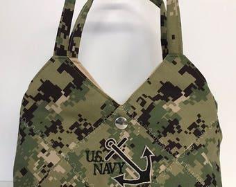 U.S. NAVY NEW CAMO - Ready Made Patchwork Medium Hobo Bag