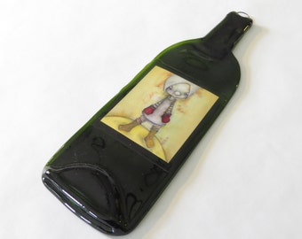 Wine Bottle Cheese Platter Girl With Red Mittens