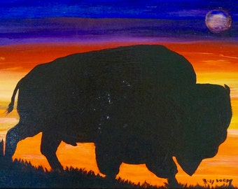 Sunset Bison painting , Montana Bison Range; sunset; western art;lodge art, home decor, small bison art; National Bison Range in Montana