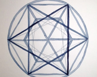 """Sacred Geometry V, #5 on a series of six, original watercolor, 12x12"""" or 10x10"""""""