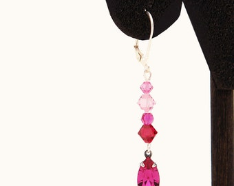Fuchsia and pink - Romantic Swarovski Earrings In Silver