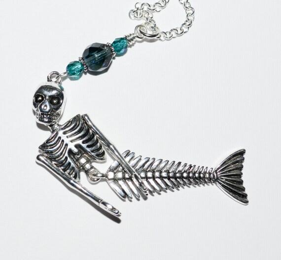 Skeleton Mermaid Necklace, Big Mermaid Pendant, Articulated Skeleton Necklace, Statement Necklace, Skeleton Jewelry, Creepy Mermaid Jewelry