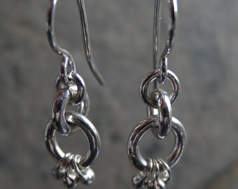 Sterling silver chain link and silver droplet earring