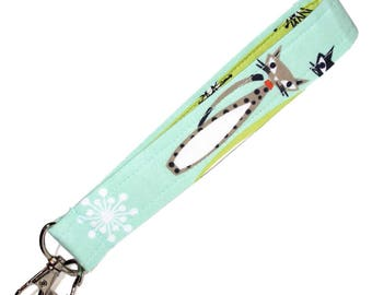 Retro Cat Key Fob • Keychain Wristlet • Wrist or Handbag Strap