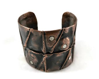 Fold Formed Copper Cuff - Copper Cuff - Copper Bracelet - Copper and Silver Cuff - Mixed Metals Cuff Bracelet