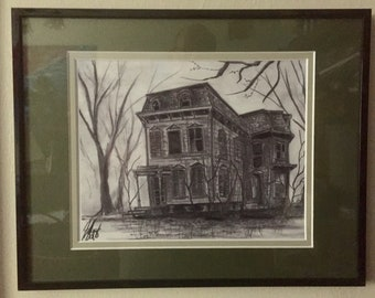 Abandoned House with Bare Trees and Vines (print).