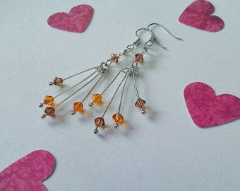 Topaz earrings / long earrings / handmade with Swarovski crystal / minimalist earrings / crystal earrings / cluster earrings / elegant