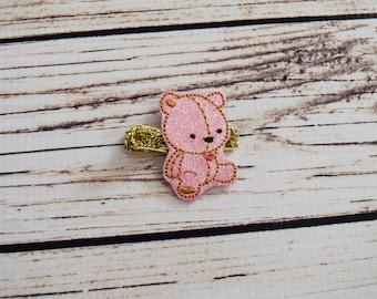 Handcrafted Glitter Pink and Gold Teddy Bear Feltie Clip - Teddy Bear Birthday Bow - Small Hair Clip - Teddy Bear Stocking Stuffer -Baby Bow