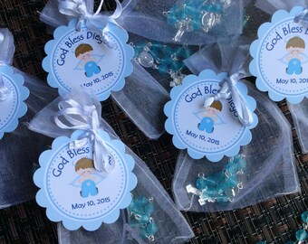 24 organza bags with mini rosaries included and thank you card- Boy Baptism favors- Christening Baptism girl favors - first communion rosari