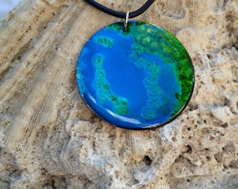 Alcohol Ink Lime Green & Blue Necklace (2)