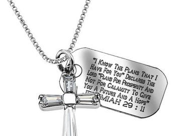 Prism Cross Necklace/Custom Verse Tag- Women's