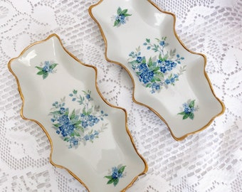 Set of 2 Antique Forget Me Nots Limoge Vanity Tray Pin Dishes