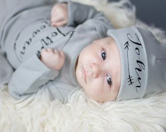 Gray personalized newborn boy name hat - newborn baby boy beanie - arrow baby hat - newborn boy beanie - hospital hat - take home hat