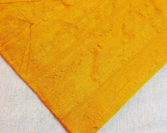 Sunny Yellow Raw Silk- Indian Silk Fabric - Pure Silk Dupioni - Raw Mulberry Silk - Indian Dupioni Silk by Yard