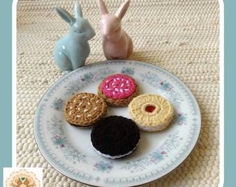 Crochet Cookies, Crochet Biscuits, Fake Cookies, Fake Biscuits, Crochet Food, Children's Pretend Food, Kids Play Food, Pretend Cookies